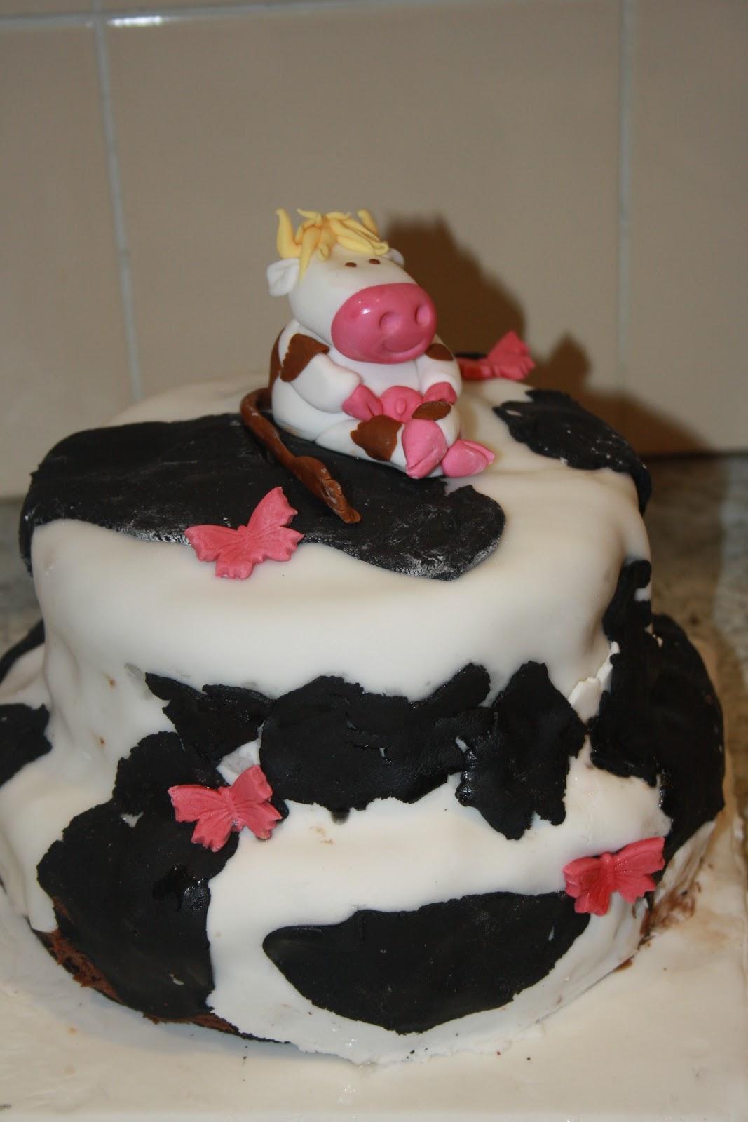 Caroline Makes Two Tiered Cow Print Birthday Cake
