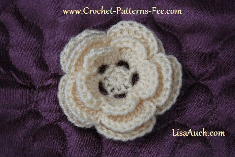 Medium Crochet Flower Pattern : EASY Free Crochet Flower Pattern Pretty 3 layer Crochet ...