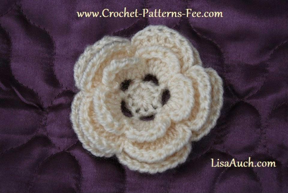 EASY Free Crochet Flower Pattern Pretty 3 layer Crochet Flower ...