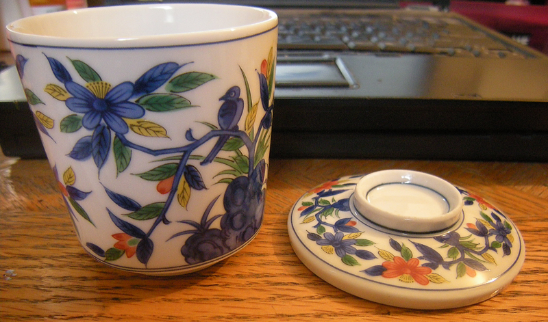 Early 1970s Kakiemon Style Japanese Porcelain Cup with Lid. 第弌陶器 Dai-ichi Toki Takahashi 高橋