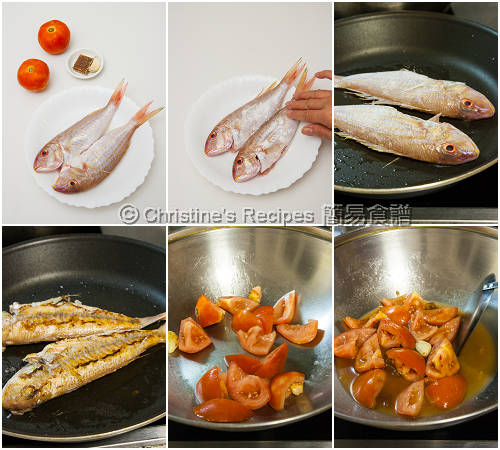 鮮茄紅衫魚製作圖 Pan-Fried Golden Threadfin Breams in Tomato Sauce Procedures