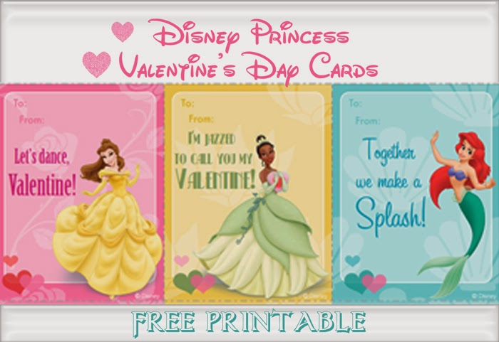 FREE Printable Disney Princess Valentine's Day Cards!