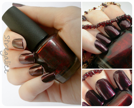 OPI Every Month Is Oktoberfest burgundy red shimmer  garnet swatch