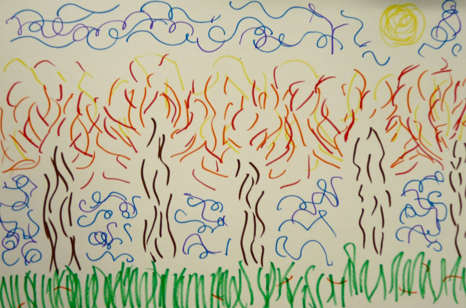 Drawing Using Lines : Art. paper. scissors. glue!: fall lines landscape