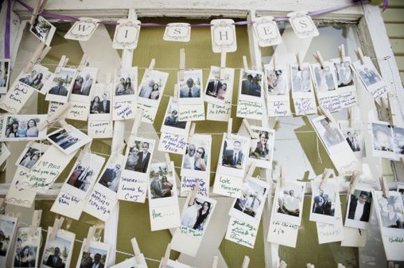 Tenderete con fotos para dejar mensajes en una boda
