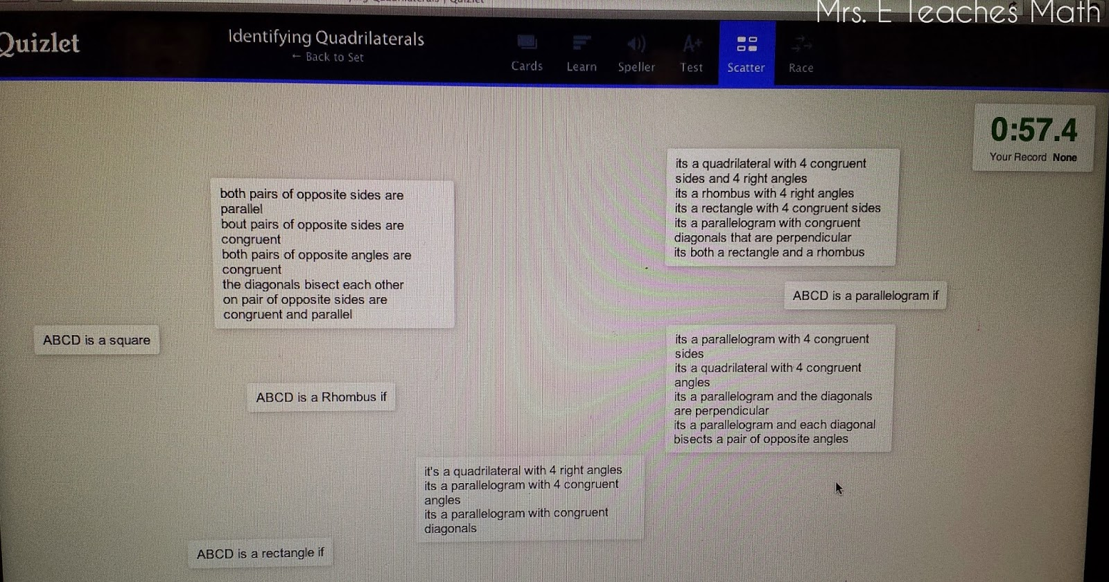 Student Made Quadrilaterals Study Guide on Quizlet