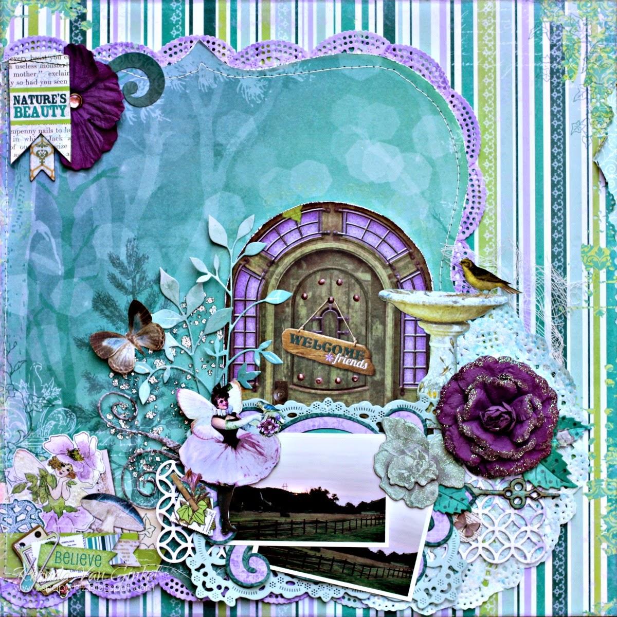 Nature's Beauty Scrapbook Page by Rhonda Van Ginkel using BoBunny Enchanted Garden Collection