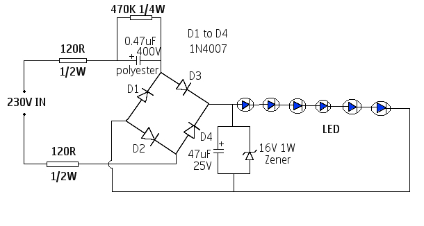 electronics circuit application simple 230v led driver circuits rh myelectronis lab blogspot com