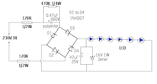 Electronics Circuit Application : SIMPLE 230V LED DRIVER ...