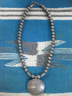 VERY OLD            NAVAJO            SILVER BEADS            NECKLACE