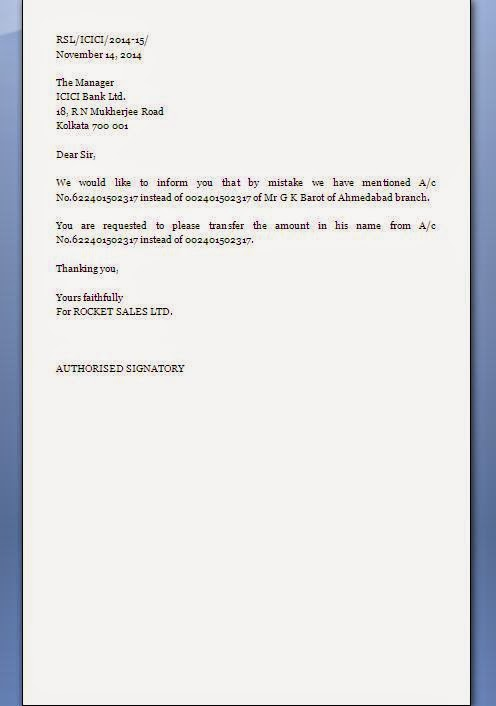 Letter Of Correction Of Account Number