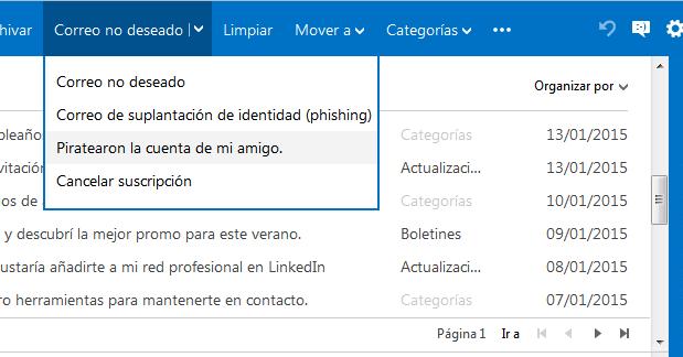 Cancelar suscripción a correos publicitarios en Outlook.com