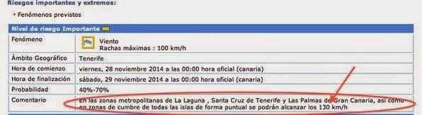 Viento huracanado Las Palmas GC, Santa Cuz Tenerife y La Laguna, 28 noviembre