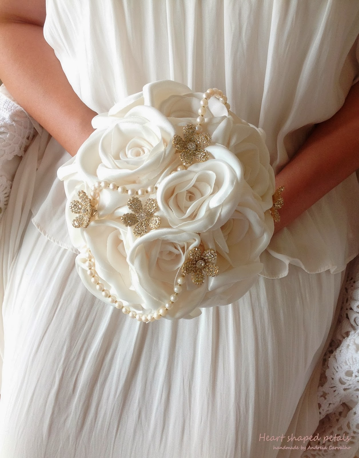 White bridal bouquet fabric roses