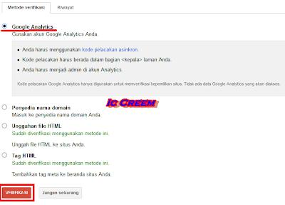 terverifikasi dengan Google Analytics