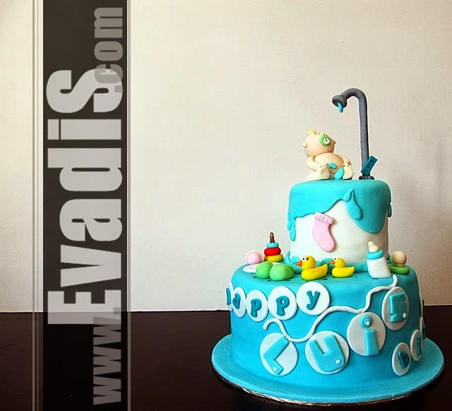 Picture of full view baby in shower cake