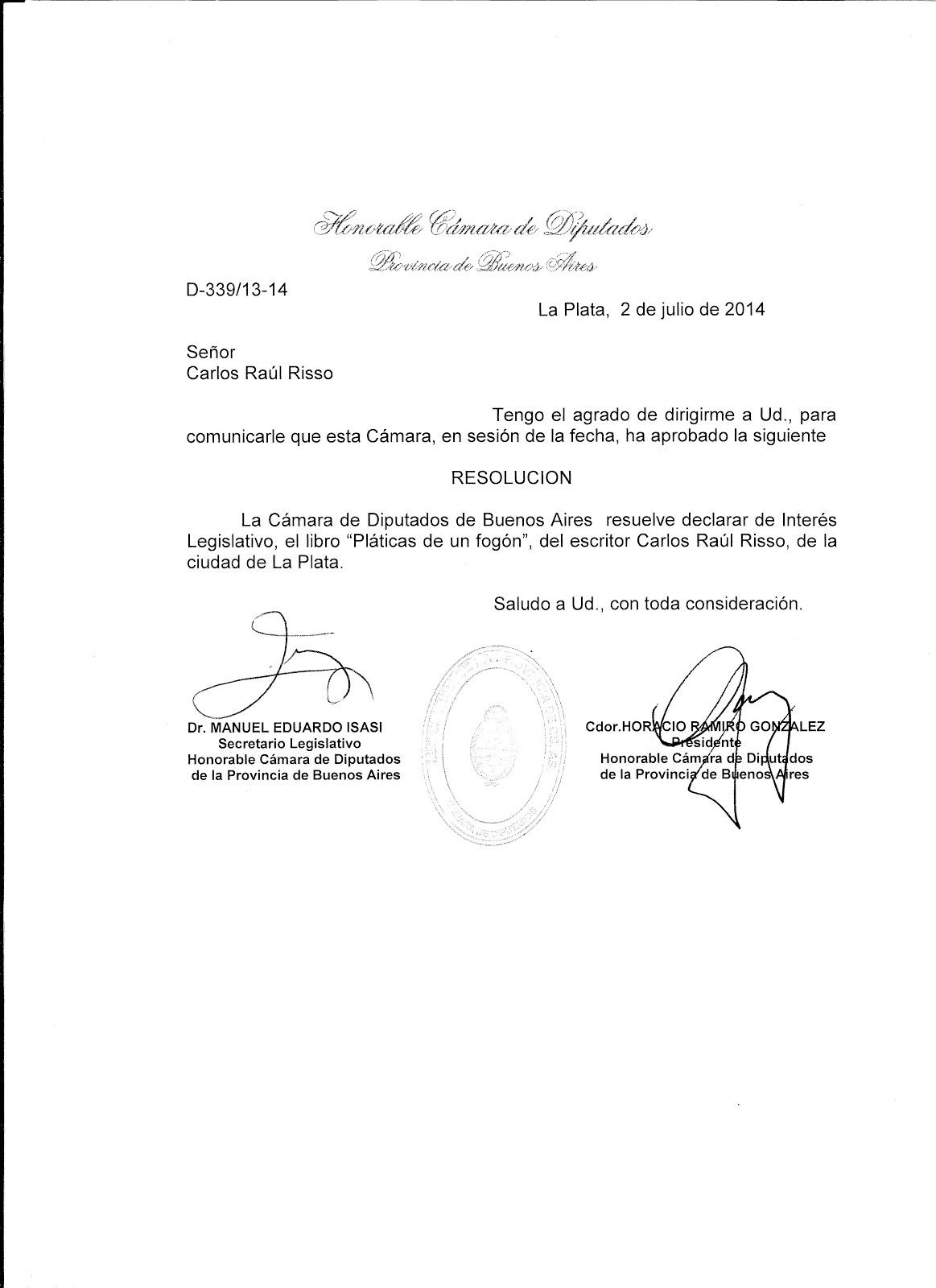 """Declaración de Interés Legislativo Provincial a: """"Pláticas de Fogón"""""""