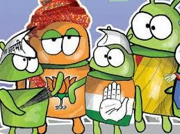 party symbols of AAP, BJP, Congress