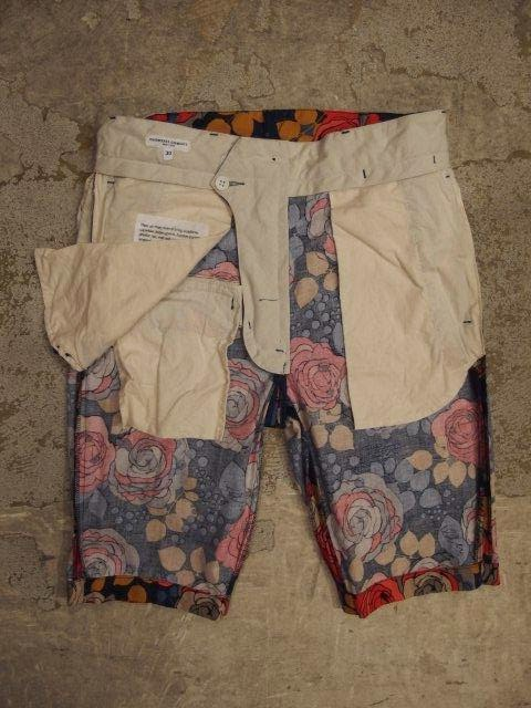 engineered garments ghurka short in navy with red rose print cotton spring/summer 2014 sunrise market