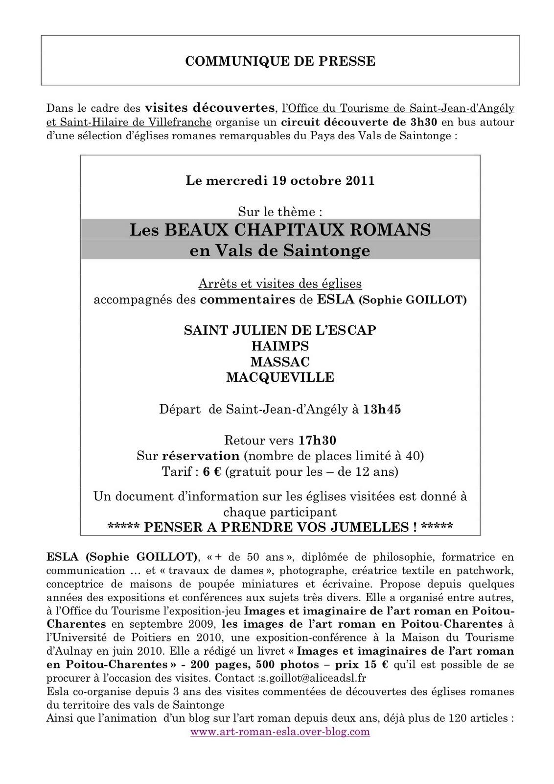 Art roman gothique m di val octobre 2011 - Office de tourisme saint jean d angely ...