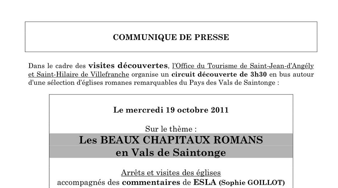 Art roman gothique m di val circuit du 19 octobre sur l - Office de tourisme saint jean d angely ...