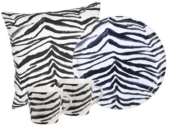 Lagerhaus Zebra - kuddfodral, bricka och muggar | www.var-dags-rum.se