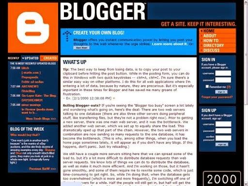 2000 yılında blogger