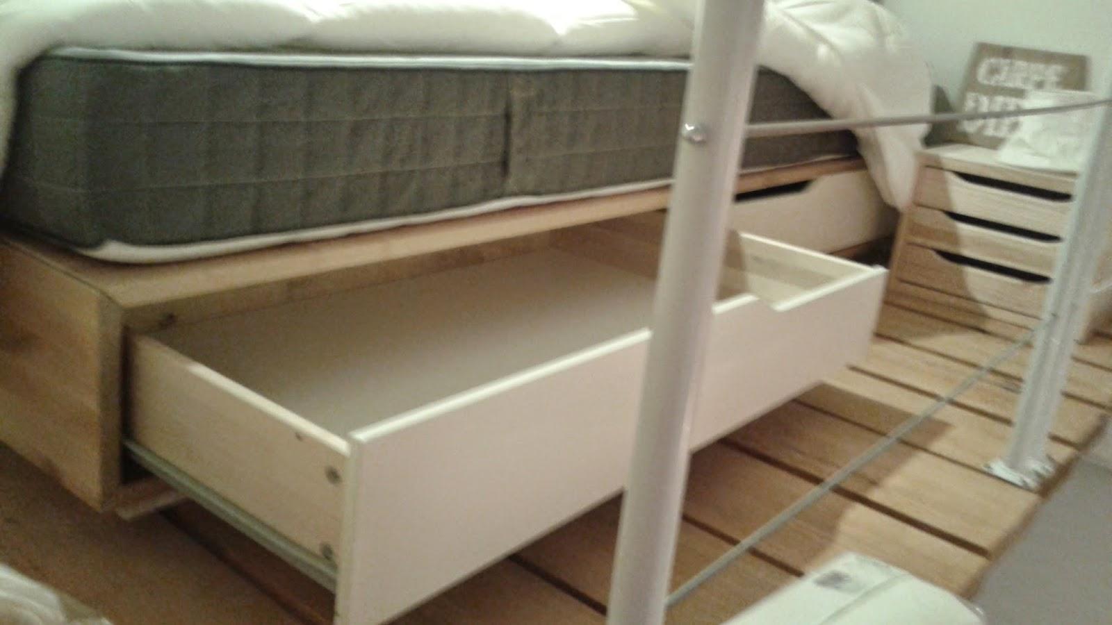 Camas con almacenaje ikea interesting cama somier for Cajones bajo cama ikea