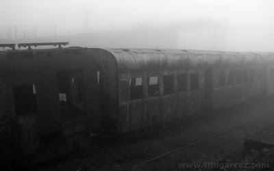 Vagões abandonados na estação ferroviária de Paranapiacaba