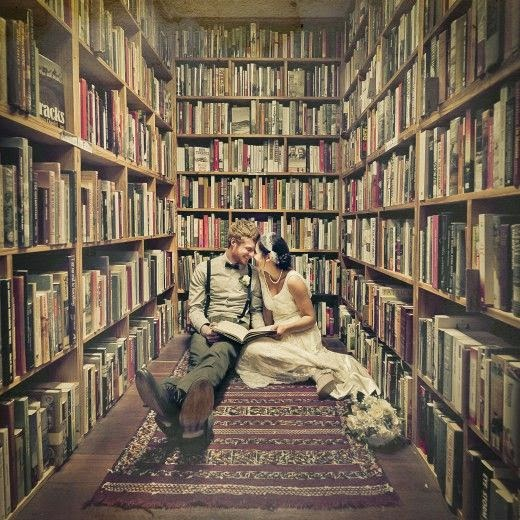 engagement shoot with books