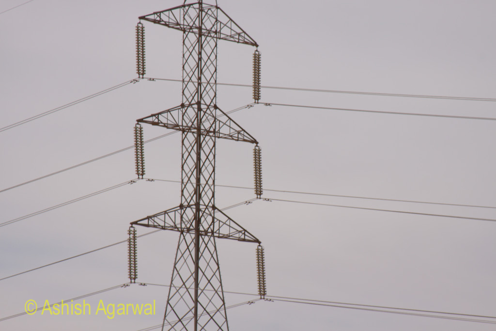 Electric transmission line alongside the Highway to Abu Simbel in Egypt