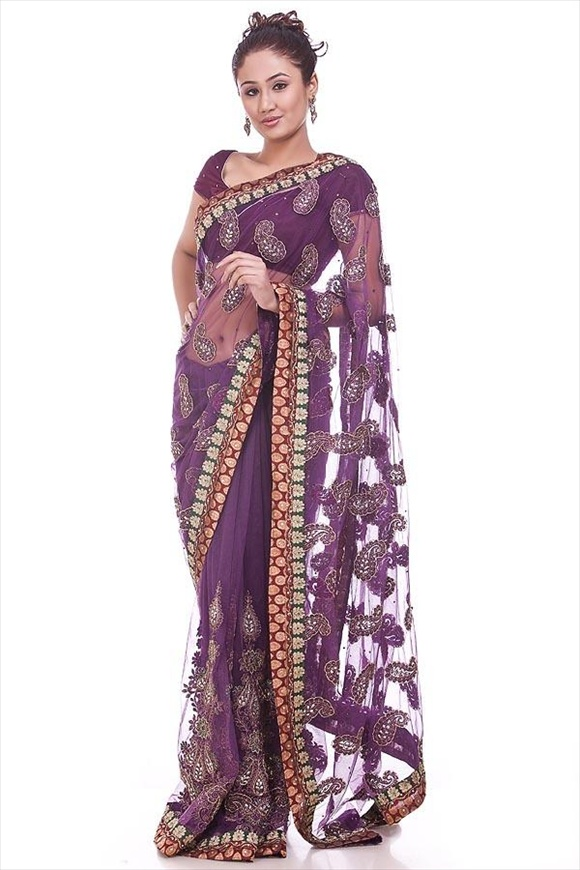 Royal Purple Net Saree