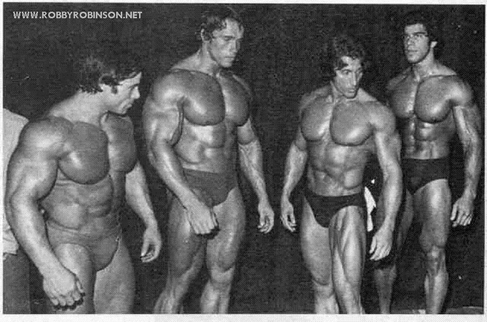 "FRANCO COLUMBU, ARNOLD SCHWARZENEGGER, FRANK ZANE AND LOU ""THE HULK"" FERRIGNO ● www.robbyrobinson.net/motivation.php ●"