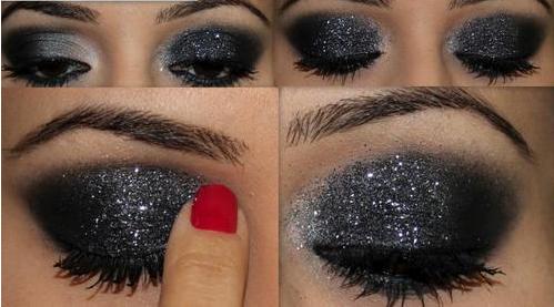 Maquillaje de ojos smoking smokey escarchado maquillaje for Como pintarse los ojos de negro