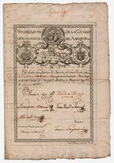 share certificate of the Sociedad Mineralogica de la Ciudad de Arequipa