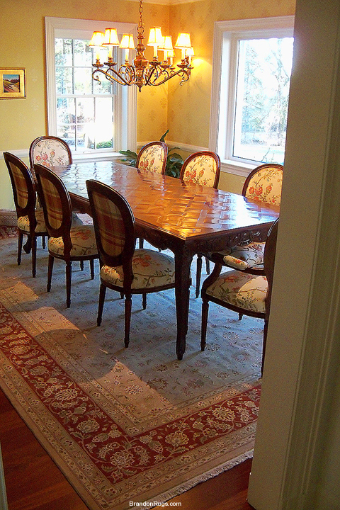 Oriental Rug Under Dining Room Table