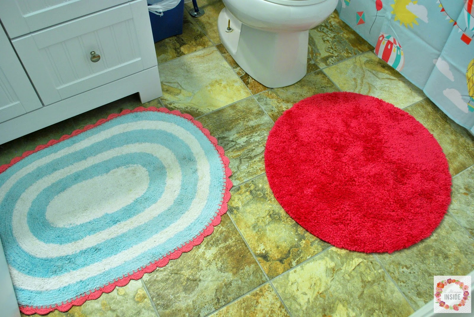 Vintage Here is a shot of our pleted floors and the bathroom rugs