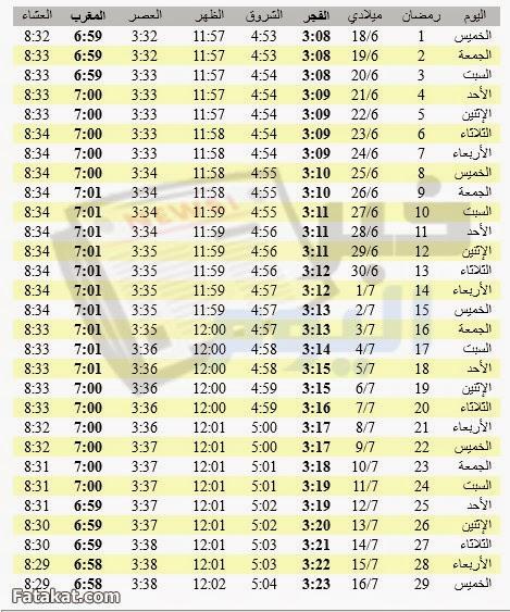 امساكية شهر رمضان 2015 / 1436 مصر