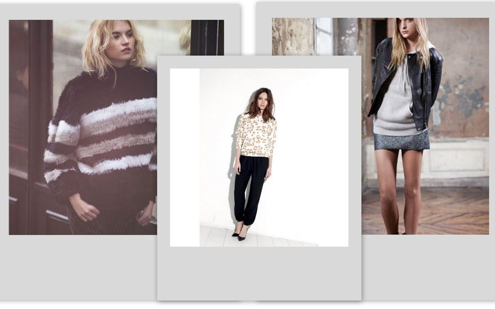 Comfy knit, striped knit, animal print, Virgine Castway, hoodie and biker, April May fall 13 lookbook