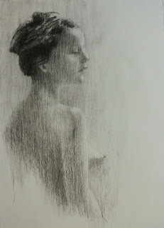 South african artist, Stephen Scott: Charcoal on paper, nude entitled Over the shoulder