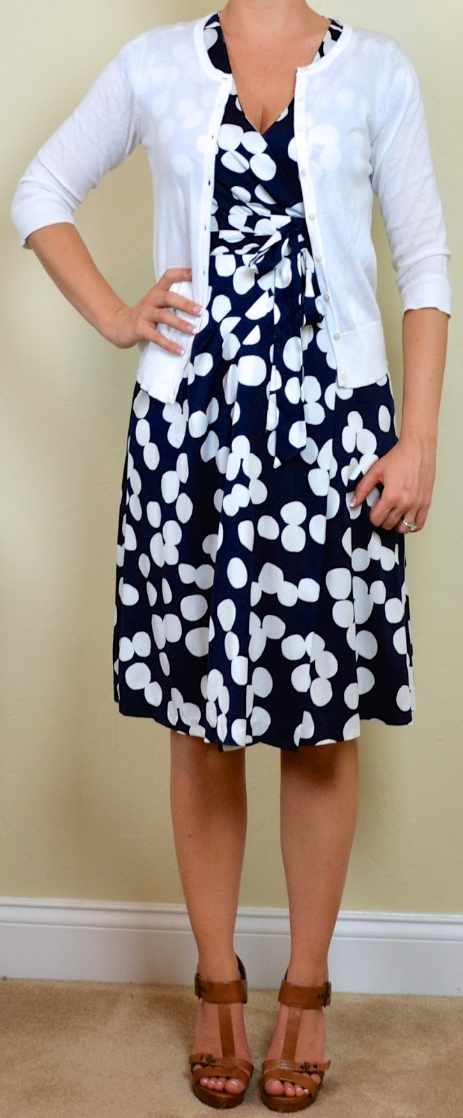 Outfit Post Navy U0026 White Polka Dot Dress White Cardigan ...
