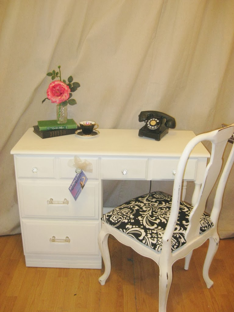 Finished In Soft Milk White With Crystal Knobs And Drawer