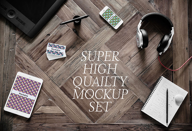 5 High Quality Photographic Mockups PSD