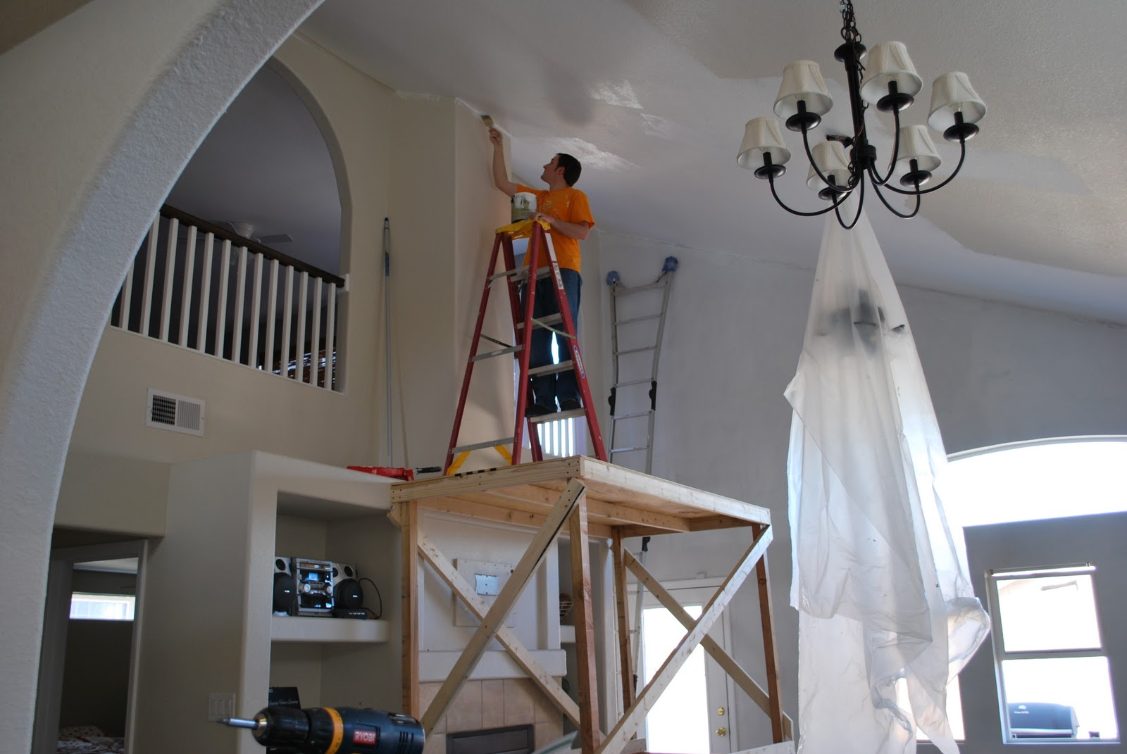 Two crafty housewives how we are painting our vaulted ceiling for How to paint a vaulted ceiling room