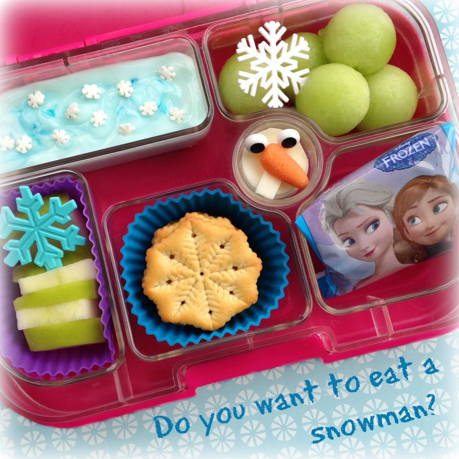 Disney's Frozen bento Lunch with cheese Olaf snowman