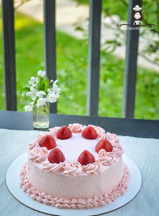 ... - Sponge cake layered with real strawberries and whipped cream