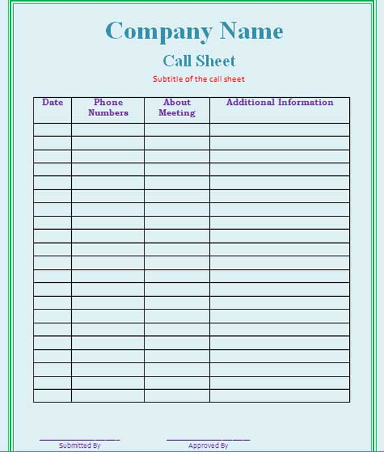 Free Call Sheet Template  BesikEightyCo