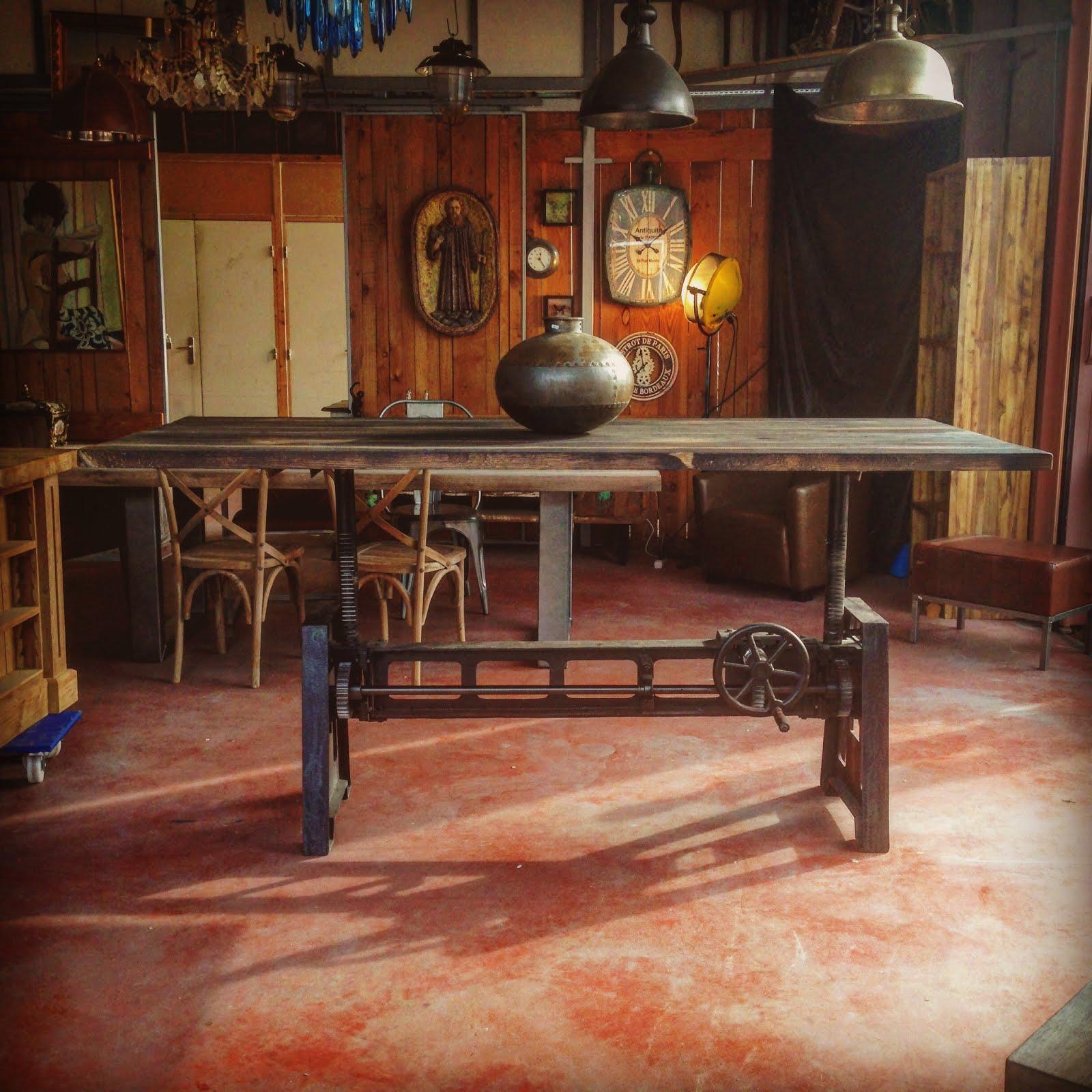 vitadeco table bois m tal design industriel. Black Bedroom Furniture Sets. Home Design Ideas
