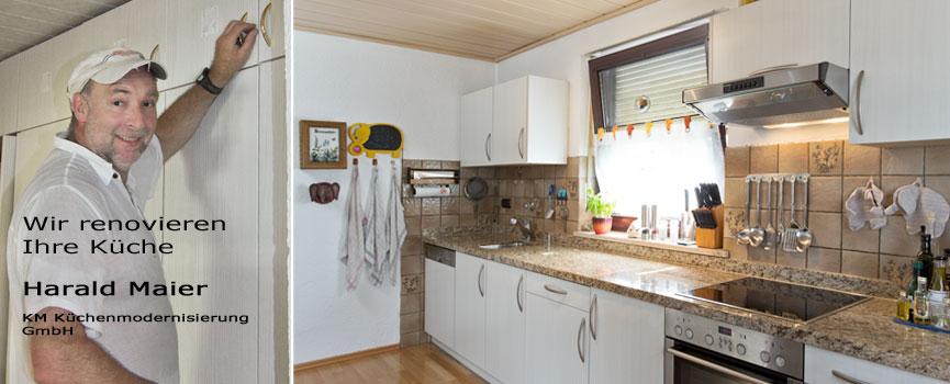 Wir renovieren Ihre Küche : Kleine Kuechenzeile - neue Schranktueren