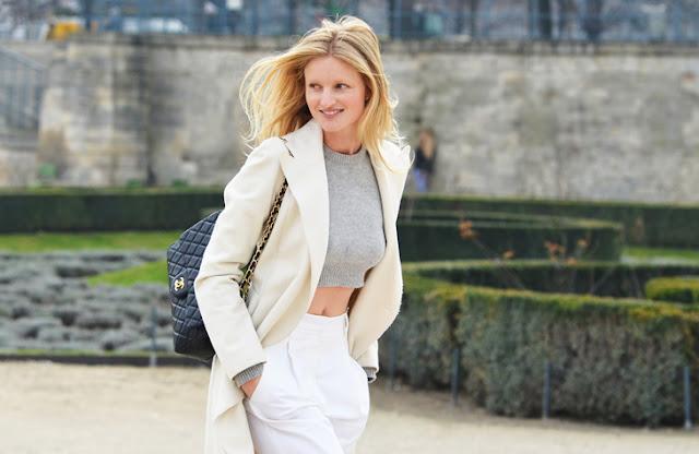 Streetstyle, white crop top grey bandeau model paris fashion week naked pretty